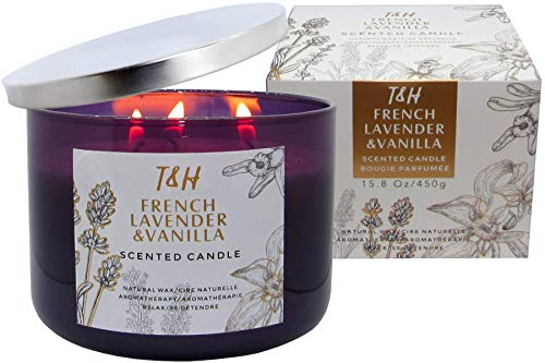 T&H French Lavender & Vanilla Candle Aromatherapy Relaxation Handmade