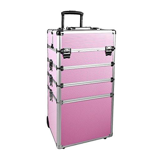 Makeup Train Case 4 in 1 Professional Cosmetics Rolling Organizer