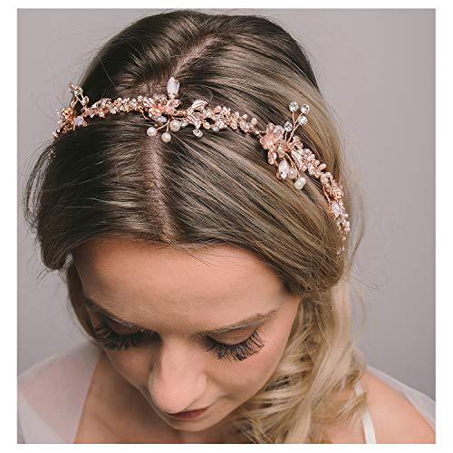 SWEETV Rose Gold Bridal Headband Tiara, Wedding Hair Vine Head
