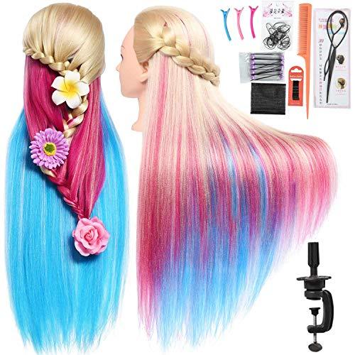 "SILKY 28""-30"" Long Synthetic Hair Mannequin Head Hairdresser"