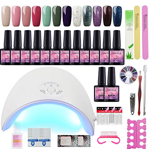 Fashion Zone 12 Colors Gel Nail Polish Starter Kit with 36W LED Nail Dryer Lamp