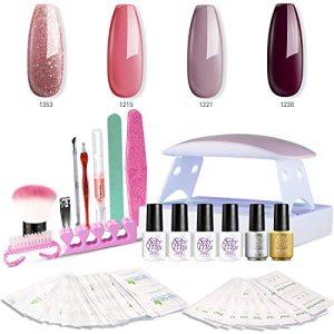 SEXY MIX Gel Nail Polish Kit with UV LED Light, Home Gel Nail Polish Kit