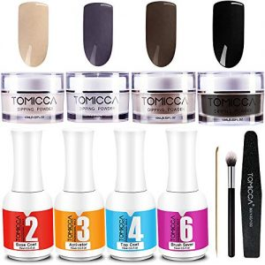 Dip Powder Kit,Nail Dipping Powder Starter kit, Tomicca Acrylic Powder Set