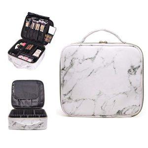 R&R Beauty Luxury White Marble Travel Makeup Bag Train Case