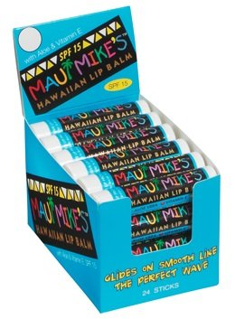 Maui Mike's Lip Balm (24 mixed) Glides on Smooth Like the Perfect Wave