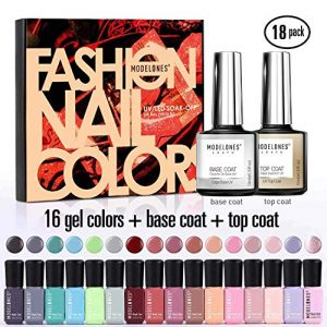 Modelones 18 PCS Soak Off Gel Nail Polish Set- 16 Color Gel