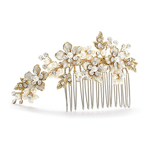 Mariell Handmade Brushed Gold and Ivory Pearl Wedding Comb
