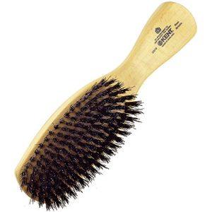 Kent Finest Men's Rectangular Club Satinwood Pure Black Bristle