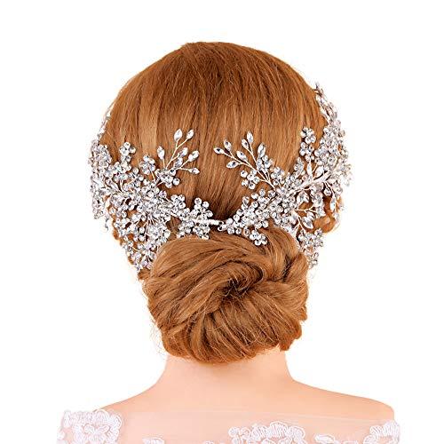 ULAPAN Silver Rhinestone Wedding Headbands Tiara Crystal Headpiece Bridal