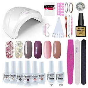 Vishine Gel Nail Polish Starter Kit - 48W LED Lamp 6 Color & Base Top Coat Set
