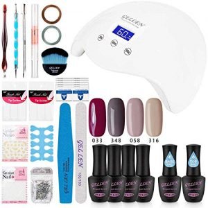 Gellen Gel Nail Polish Starter Kit with 24W LED lamp Base Top Coat