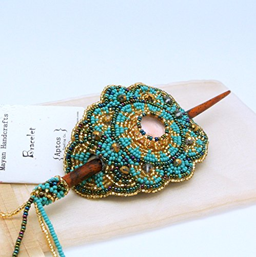 BEAUTIFUL Beaded Hair Barrette with Wood Stick