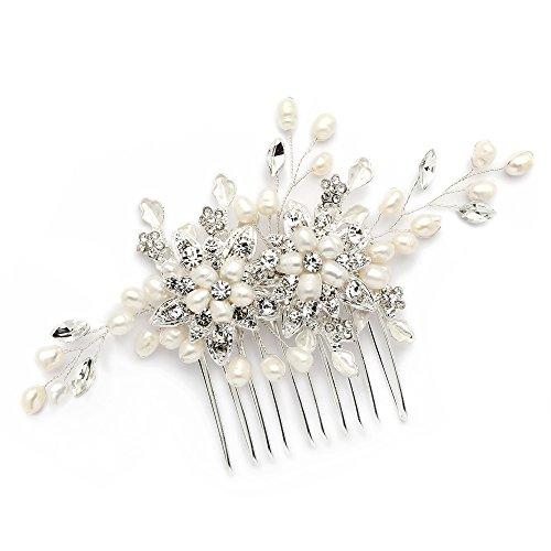 Mariell Genuine Freshwater Pearl Wedding Hair Comb