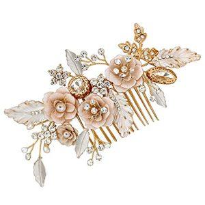 LovShe Gold Bridal Hair Accessories Flower Hair Comb Bride Hair Accessories