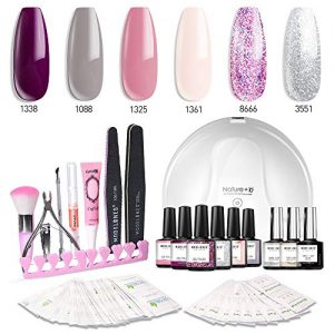 Modelones Gel Nail Polish Kit with UV Light - 4 Elegant Colors and 2 Glitter Gel