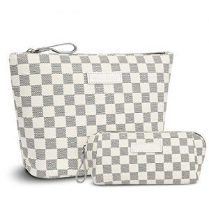 iBeacos Checkered Large Makeup Bag Small Cosmetic Pouch