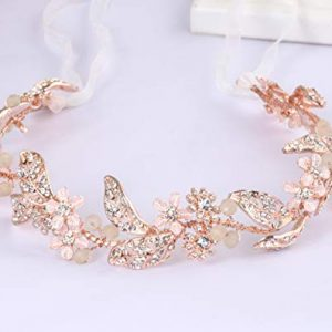 Ammei Rose Gold Wedding Headband Flower Leaves Design Hair