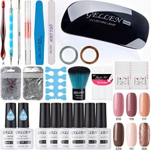 Gellen Gel Polish Starter Kit - Selected 6 Colors, with Top Coat Base Coat Nail
