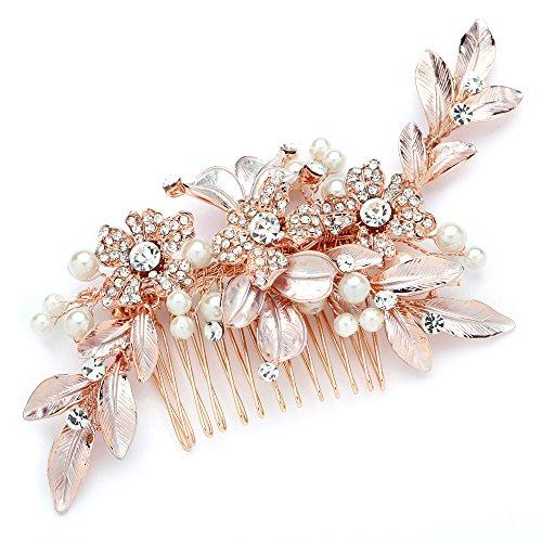 Mariell Rose Gold Designer Bridal Hair Comb Wedding Headpiece