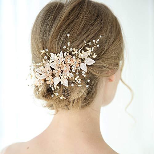 SWEETV Handmade Wedding Hair Comb Pearl Floral Leaf Bridal Hair Accessories