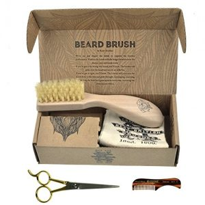 Beard & Mustache Set of Kent Boar Bristle Beard Brush + Kent Handmade