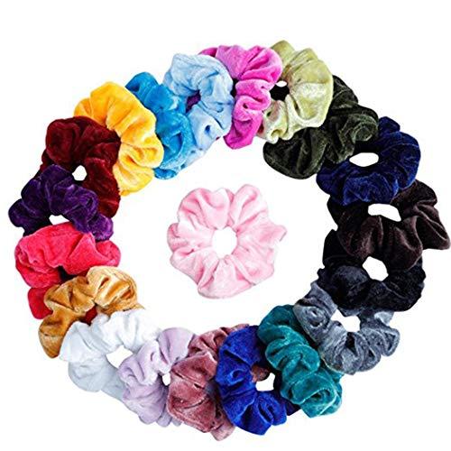 Cidere 20 Pcs Women Girls Velvet Elastic Scrunchies Ponytail Holder Hair Accessories