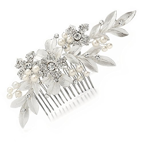 Mariell Couture Bridal Hair Comb with Hand Painted Leaves