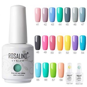 ROSALIND 15ml UV Nail Gel Polish Set, 20 Colours Pure Color Soak Off Nail