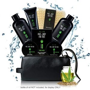 Sandalwood Bath and Body Gift Basket Set for Men with Hemp Oil Extract