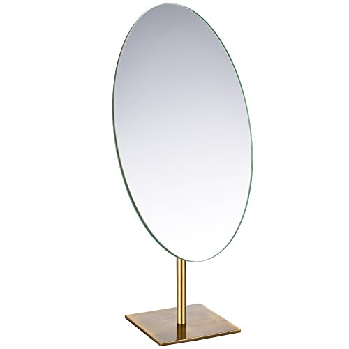 GURUN Tabletop Oval Vanity Makeup Mirror, 7x12 Antique Brass