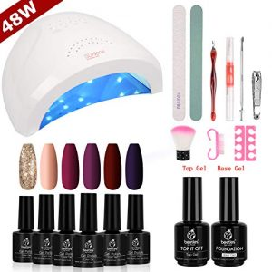 Beetles Full Maroon Gel Nail Polish Starter Kit with 48W UV/LED Light Nail Lamp