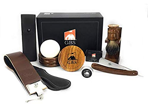 GBS Mens Luxury Shave Ready Wood Straight Razor Shaving Set