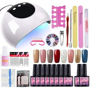 Fashion Zone 8 Colors Gel Nail Polish Starter Kit with 24W UV LED Nail Dry Lamp