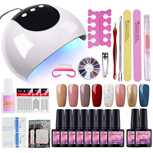 Fashion Zone 8 Colors Gel Nail Polish Starter Kit with 24W UV LED Nail Dry Lamp