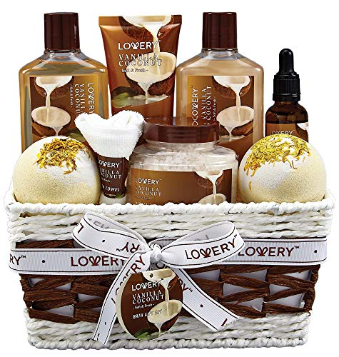 Bath and Body Gift Basket For Women and Men - 9 Piece Set of Vanilla