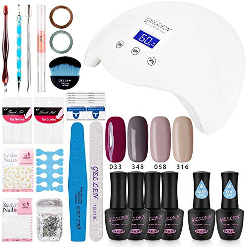 Gellen Gel Polish Kit with UV Light - Elegance 4 Colors Stylish Nail Gel Starter Kit