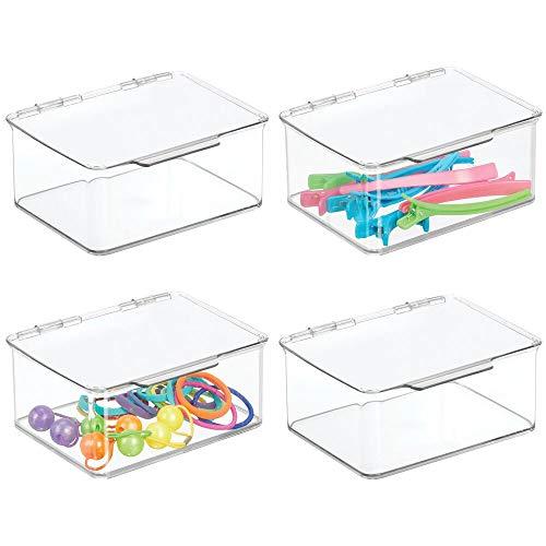 mDesign Stackable Bathroom Hair Accessory Countertop Storage Organizer Box