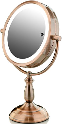 Ovente Dual-Sided Lighted Makeup Mirror with Timer