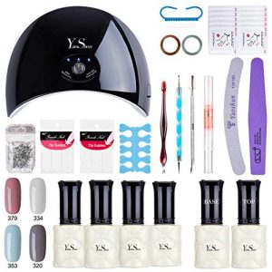 Gel Nail Polish Kit - Yao Shun Gel Polish Starter Kit with 24W LED Nail Lamp