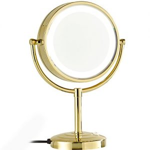 GURUN 8.5-Inch Tabletop Double-Sided LED Lighted Make-up Mirror