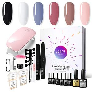Gel Nail Polish Kit with UV light - Soak Off Gel Base Top Coat 6W Nail Lamp