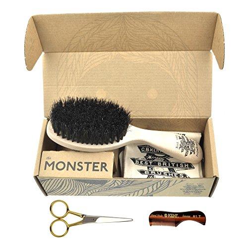 Beard & Mustache Set of Kent Boar Bristle Beard Brush
