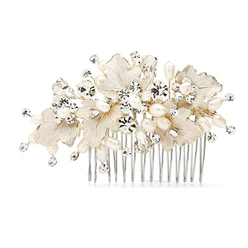Mariell Couture Bridal Hair Comb with Hand Painted Gold Leaves