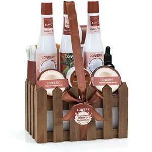 Organic Spa Gift Basket Heavenly Coconut Scent - Luxury 16 Piece All Natural Bath
