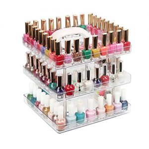 JACKCUBE Design 3 Tier Clear Nail Polish 360 Rotating Display Rack Organizer