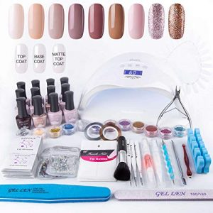 Gellen Home Nail Gel Starter Kit with Holiday Gift Bag 48W Nail Lamp