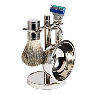 Luxury Men Straight Shaving Razor Badger Hair Brush Stand Holder