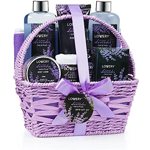 Home Spa Gift Basket, 9 Piece Bath & Body Set for Women and Men