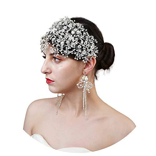 ULAPAN Crystal Bridal Headpiece Silver Wedding Headband for Brides