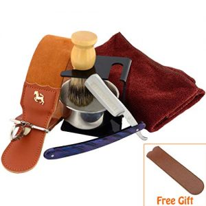 7 Piece Luxury Men Shaving Kit ~ Straight Edge Razor, Leather Canvas Strop